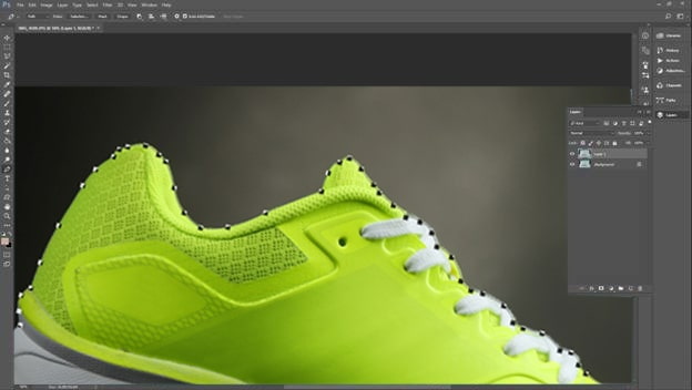 Footwear retouching tutorial step 2