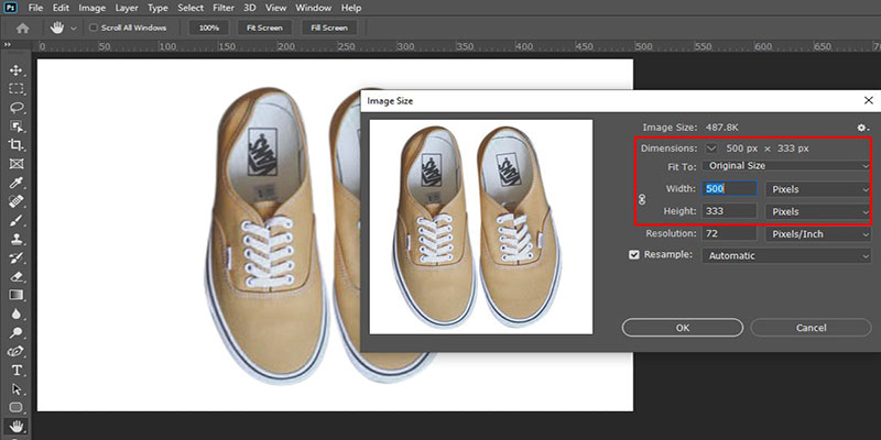 Inspect image size in photoshop 2nd method  for Amazon
