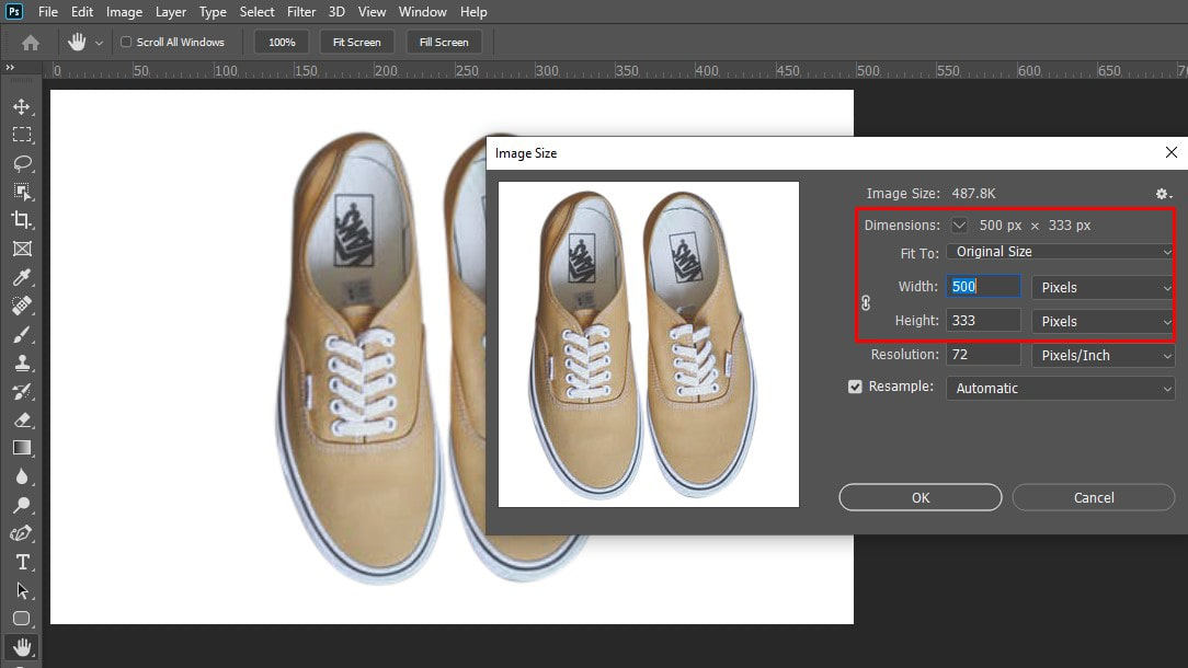 Inspect image size in photoshop 2nd method