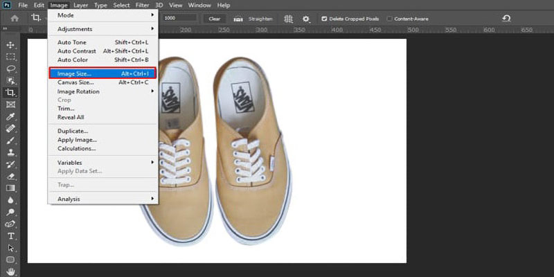 Inspect image size in photoshop for Amazon