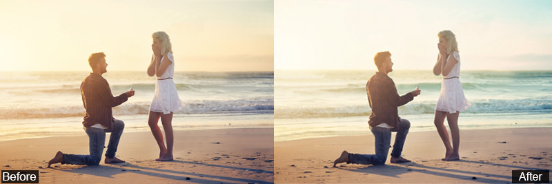 Advance Beach Engagement Photo Editing Before After
