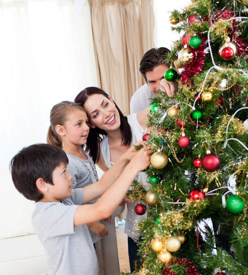 Decorating a Christmas tree