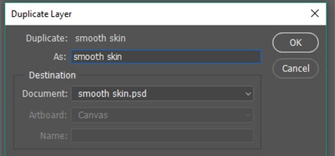 Duplicate layer naming as Smooth skin
