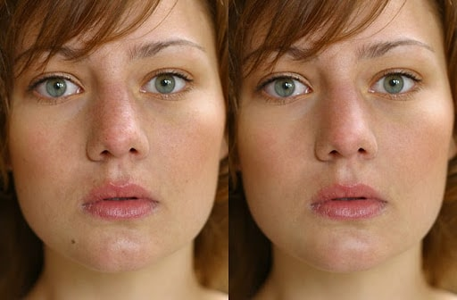 Here's a difference between the initial skin retouching before (left) and after (right).