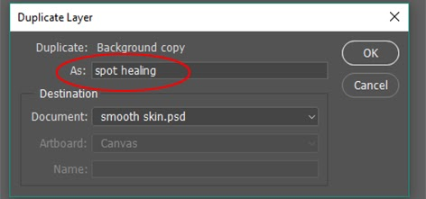 Layer name, Spot Healing
