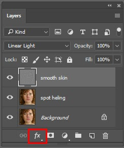 Press on the layer style icon