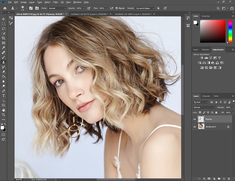 start painting over the excess flyaway hair