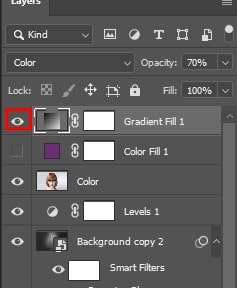 Click on the visibility icon of the gradient fill
