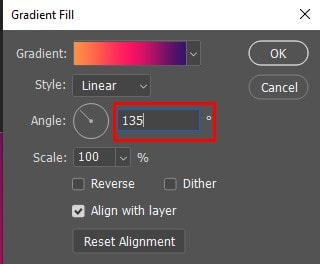 Gradient Fill dialog box to change the Angle option