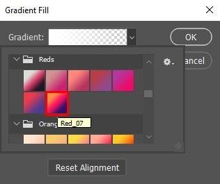 Gradient fill Dialog box