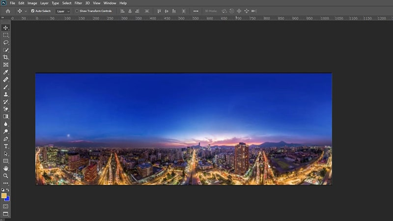 Open Image in Photoshop for 360 Degree Edit