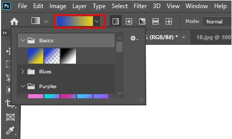 apply the gradient tool without selection