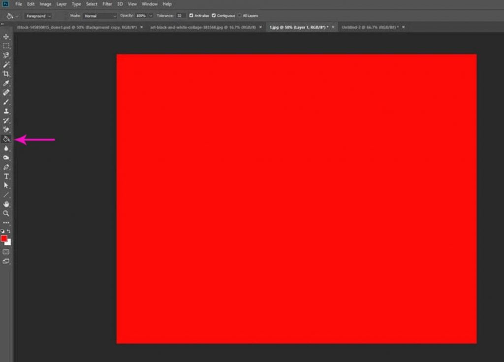 filling the new layer with a bright color
