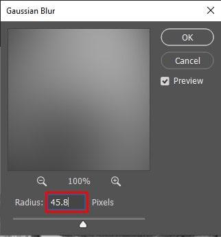 radius value to 45.8 pixels
