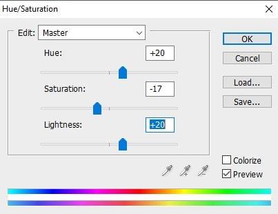 Hue saturation adjustment