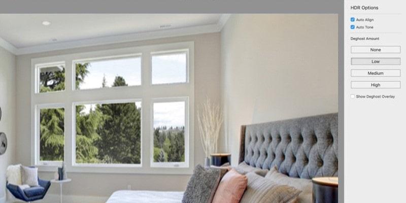 HDR panel option in lightroom