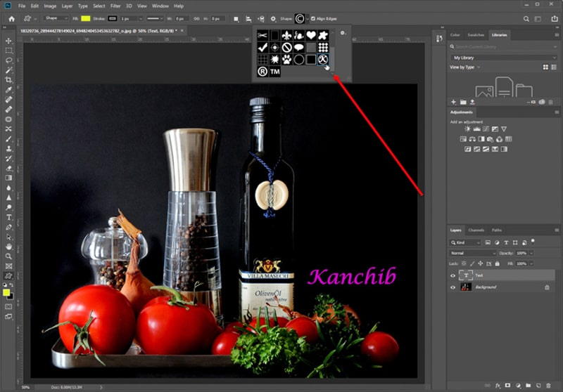 Photography Watermarking symbol in Photoshop