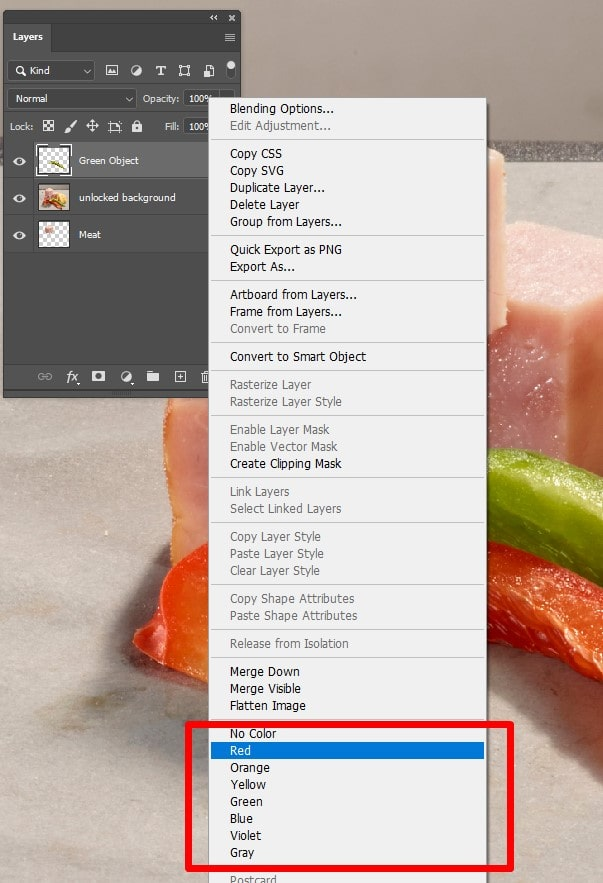How to Use Color Code in Photoshop Layers