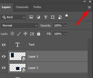 click on the Layers panel options