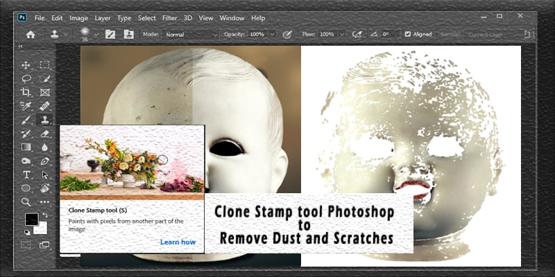 Clone Stamp Tool Photoshop to Remove Dust and Scratches