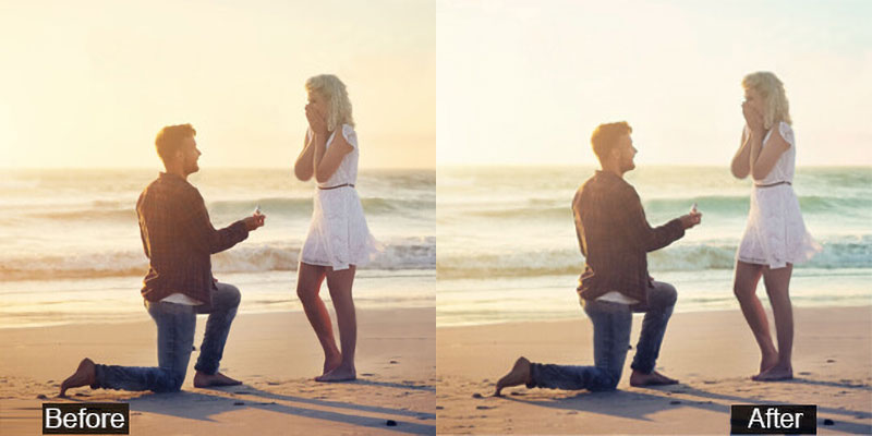 Beach Engagement Photo Editing Before After