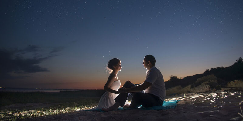 Beach Engagement Photography at Starry Night Sky