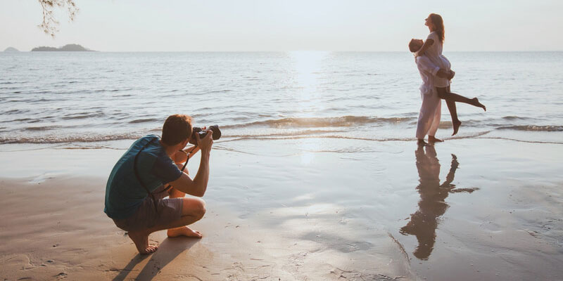 Beach Engagement Photography in Natural Reflections