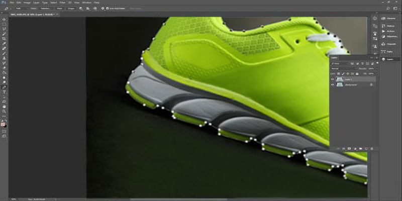 cut off the shoe using clipping path