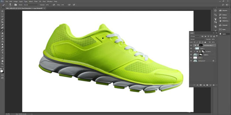 render the white parts of the shoe whiter