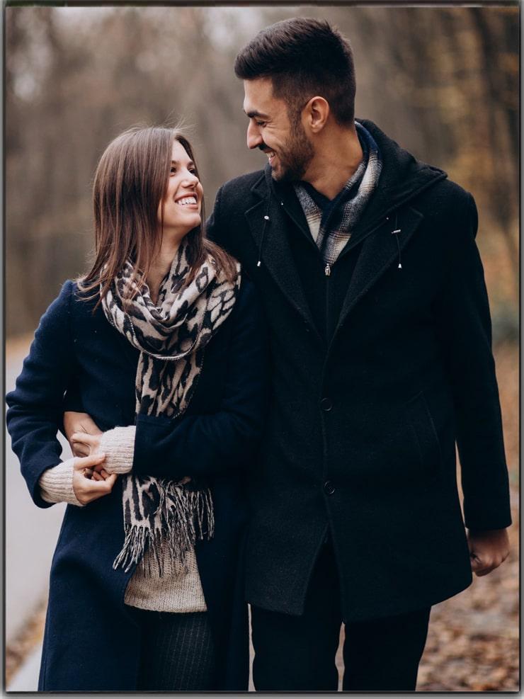Couple Poses Wear Matching Attire