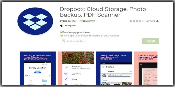 Photo Storage Apps Dropbox