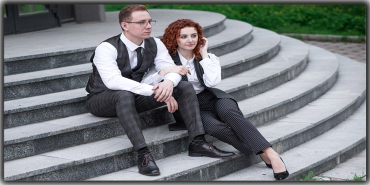 Sit on Steps Couple Poses