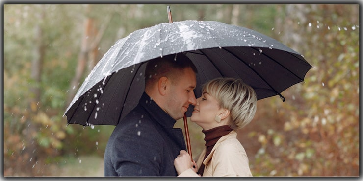 Under an Umbrella in the Rain
