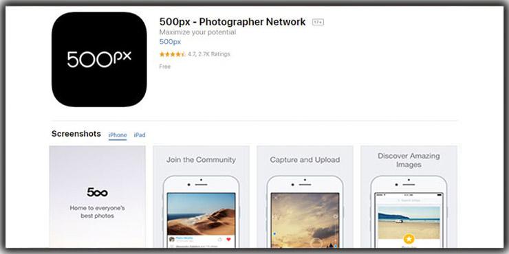 photo storage app 500 PX