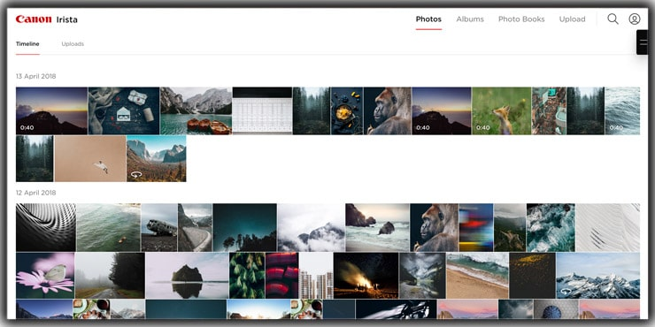 photo storage app Canon Irista